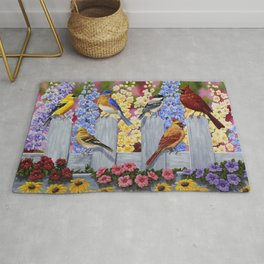 Spring Garden Party Birds and Flowers Rug
