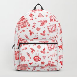 Cozy Hygge Elements in Red + White Backpack