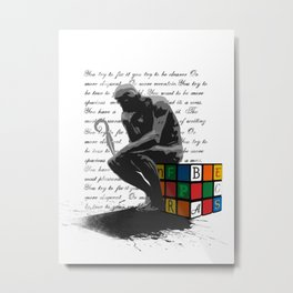 WRITER'S BLOCK the thinker Rubrix cube illustration Metal Print