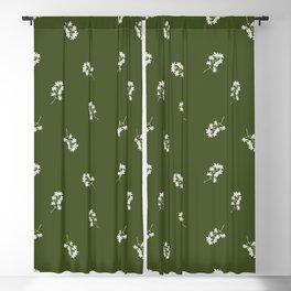White Leaves Linocut on Olive Background Blackout Curtain