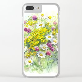 Watercolor meadow flowers spring Clear iPhone Case