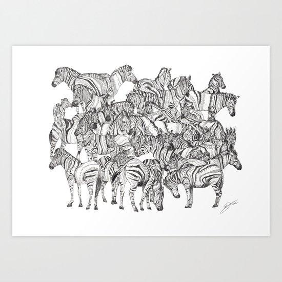 Zebras // Graphite Art Print