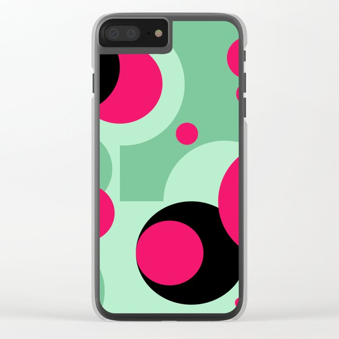 Abstract Polka dots pattern. green and red . Clear iPhone Case