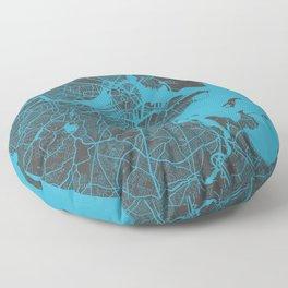 Boston map blue Floor Pillow