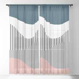 Colorful waves design Sheer Curtain