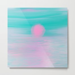Abstract lavender teal pink watercolor sunset Metal Print