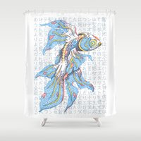 koi fish Shower Curtains featuring Koi Fish by MadameAce