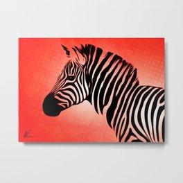 Zebra - Side Eye - Pop Art Metal Print