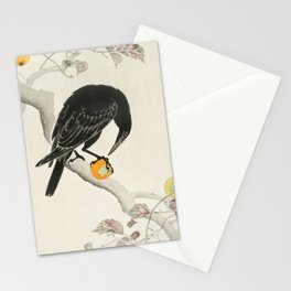 Crow eating persimmon Fruit - Vintage Japanese Woodblock Print Art Stationery Cards