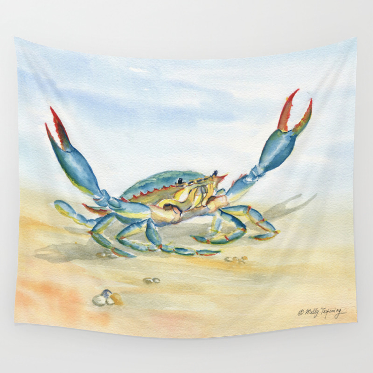 Colorful Blue Crab Wall Tapestry By Mellyterpening Society6