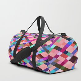 geometric pixel square pattern abstract background in pink purple blue yellow green Duffle Bag