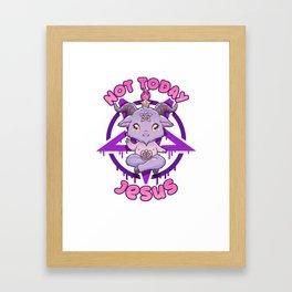 Not Today Jesus I Cute Satanic Goat T-Shirt Framed Art Print