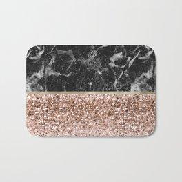 Warm chromatic - rose gold and black marble Bath Mat