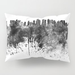 Doha skyline in black watercolor  Pillow Sham