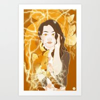 kitsune Art Prints featuring Kitsune  by Inkforwords