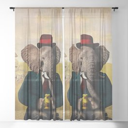 Mr. Preston J. Pachyderm visits the Sphinx Sheer Curtain