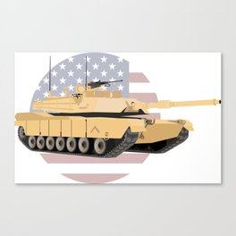 M1A1 Abrams Tank with American Flag Canvas Print