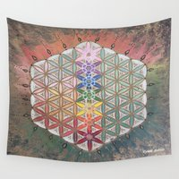sacred geometry Wall Tapestries featuring Sacred geometry chakras by Cyndi Sabido