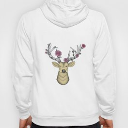 Dotwork Stag, Full Colour with pink roses Hoody
