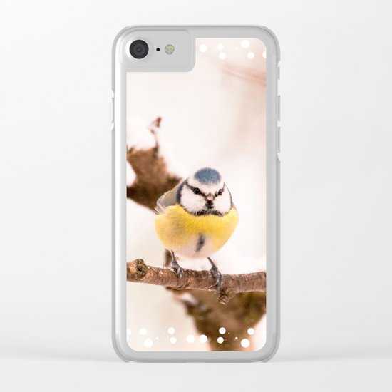 Blue tit on a branch Clear iPhone Case