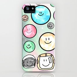 Spacemen illustrated mixed media art. Cute moons with smiley faces. iPhone Case