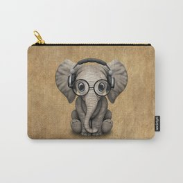 Cute Baby Elephant Dj Wearing Headphones and Glasses Carry-All Pouch