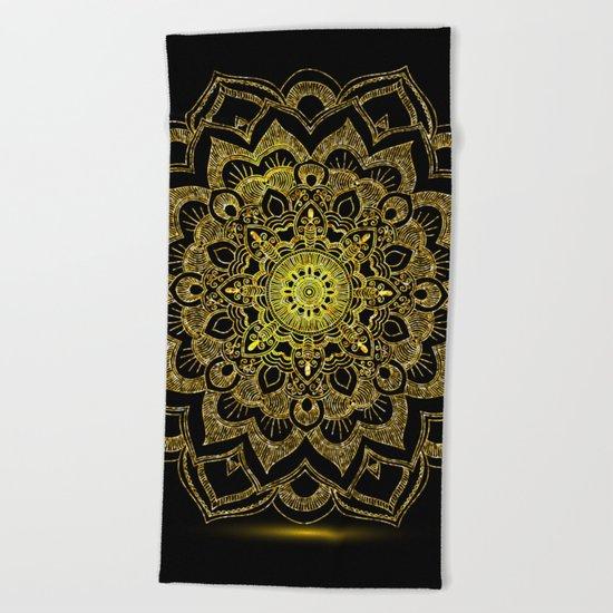 Golden Mandala Beach Towel