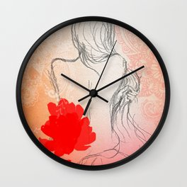 The Red Flower Wall Clock