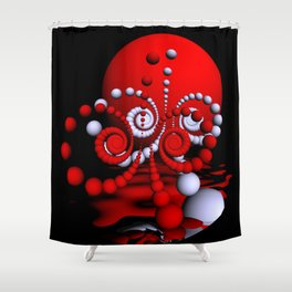 spiral world in fisheye perspective Shower Curtain