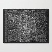 paris map Canvas Prints featuring Paris map by Le petit Archiviste