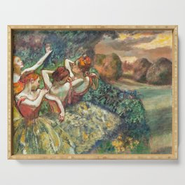 Four Dancers by Edgar Degas Serving Tray