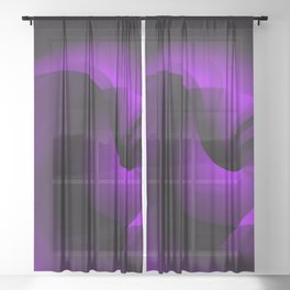 Purple Swirl On Black Sheer Curtain