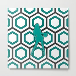 Basketball Player in Green and White Metal Print