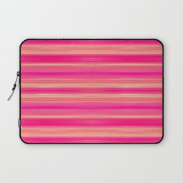 Coral and Pink Brush Stroke Painted Stripes Laptop Sleeve