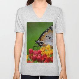 Macro shot of  Plain tiger or African monarch butterfly (Danaus chrysippus) in yellow and red flower habitat background. Beautiful Butterfly Portrait Backround Unisex V-Neck