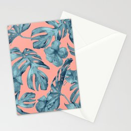 Island Life Teal on Coral Pink Stationery Cards