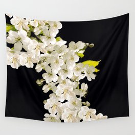 Cherry Flowers On Black Background #decor #society6 #buyart Wall Tapestry