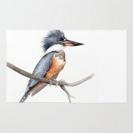 Kingfisher Bird Watercolor Illustration Rug