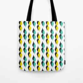 turquoise and yellow petal lines Tote Bag