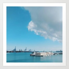 Spain's Port of Las Palmas on a Sunny and Bright Blue Day Art Print