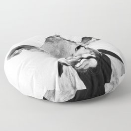 Cow photo - black and white Floor Pillow
