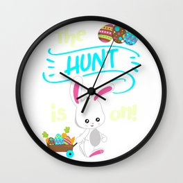 Easter Cute Colors Egg Hunt Is On Quote Bunny Spring Saying design Wall Clock