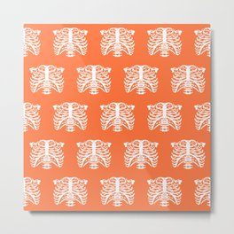 Human Rib Cage Pattern Orange Metal Print