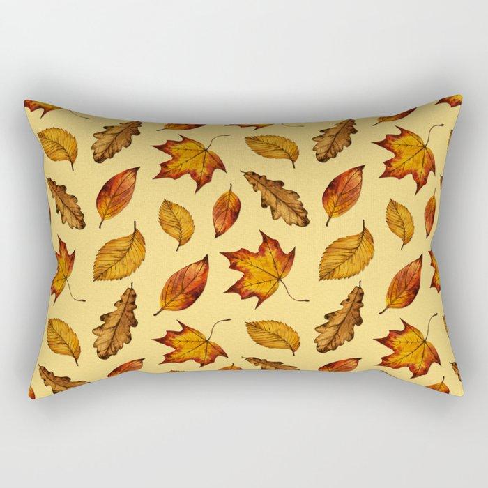 Painted Autumn Leaves Falling Pattern Rectangular Pillow