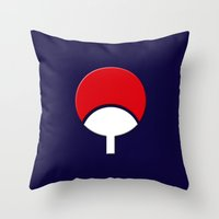 sasuke Throw Pillows featuring SASUKE UCHIHA CLAN LOGO/NARUTO by BeautyArtGalery