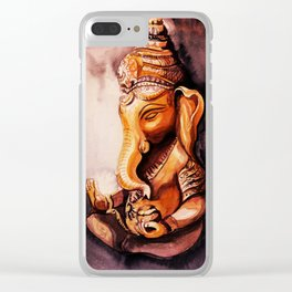 Ganesha watercolor. Meditation concept. Clear iPhone Case