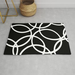 Interlocking White Circles Artistic Design Rug
