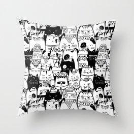 Itty Bitty Kitty Committee Throw Pillow