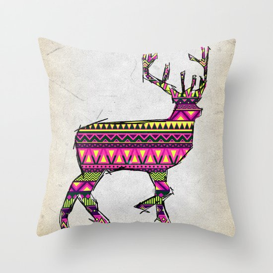 Deer Navajos pattern Throw Pillow