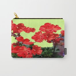 Red  Geranium Flowers Yellow-Green Art Abstract Carry-All Pouch